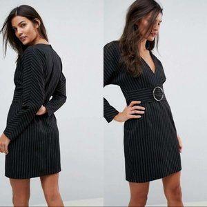 ASOS Mini Pin Stripe 80's Dress W/ Metal Belt NWT